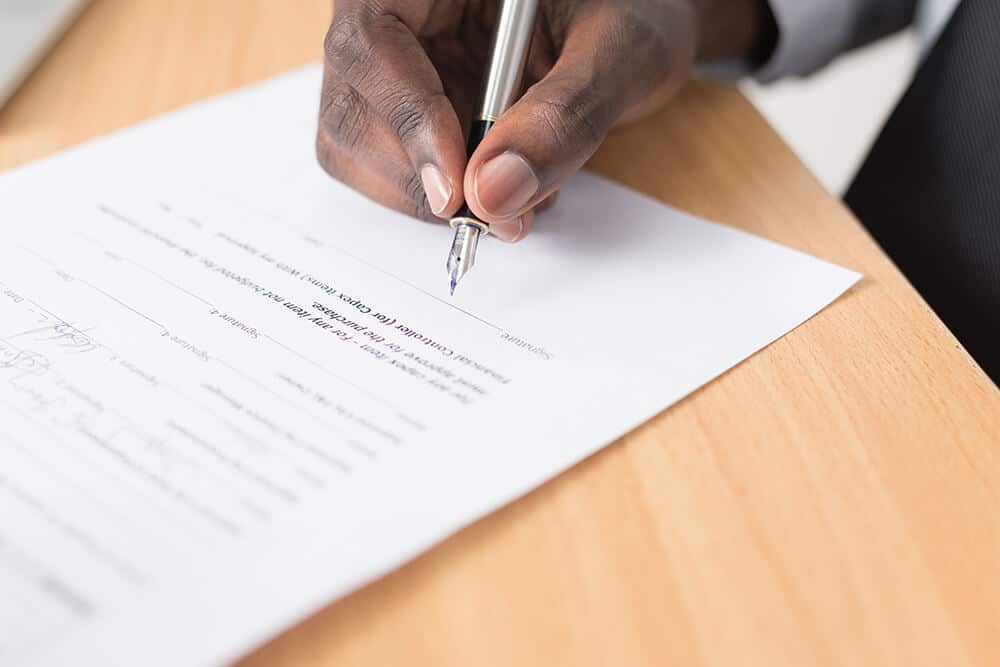 Person signing form